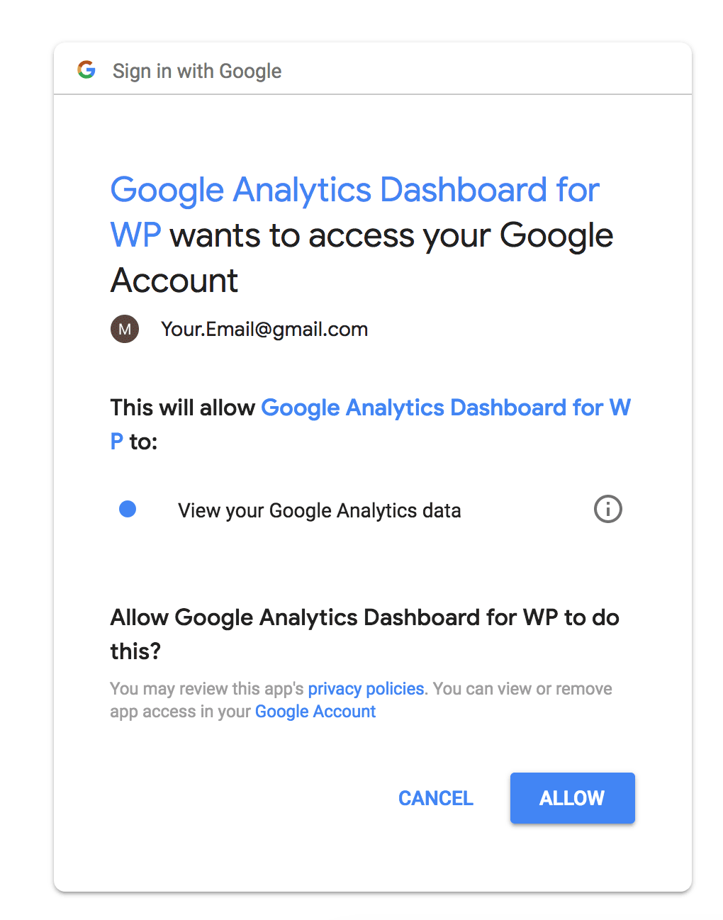 Authorize the ExactMetrics Plugin with Google Analytics